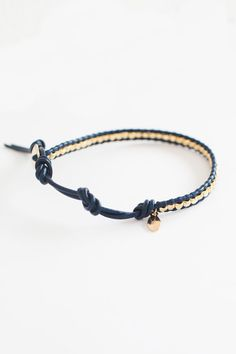 Monaco Blue Leather Wrap Bracelet with Gold Clusters www.talulahlee.com $35