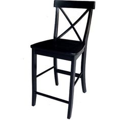 International Concepts 24 inch X-back Counter-Height Stool, Multiple Colors, Black
