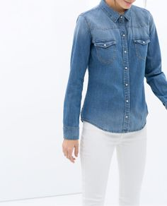 Image 3 of BASIC DENIM SHIRT from Zara