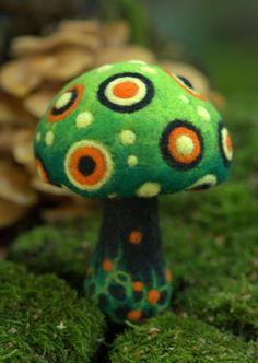 Green felted fantasy mushroom.