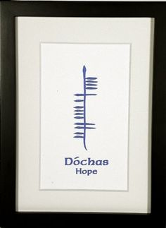 Hope (Dóchas) presented in an uplifting sky blue ogham.