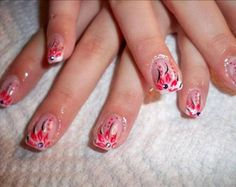 NAIL  ART DESIGN TUTORIAL PINK ON PINK FRENCH MANICURE EASY FLOWERS