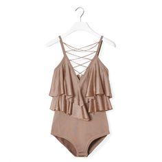 Balmain Ruffled Bodysuit (56.110 RUB) ❤ liked on Polyvore featuring intimates, shapewear and balmain