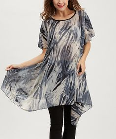 Love this Simply Couture Blue Abstract Sidetail Tunic by Simply Couture on #zulily! #zulilyfinds