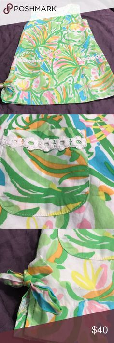 Lilly Pulitzer size 2t dress price firm Lilly Pulitzer  Size 2t  Made of cotton  Dress is lined  Has beautiful lace trim accenting pockets and neckline  Back has zipper Sides have small slits and ties From 2014 collection  Good used condition Lilly Pulitzer Dresses Casual