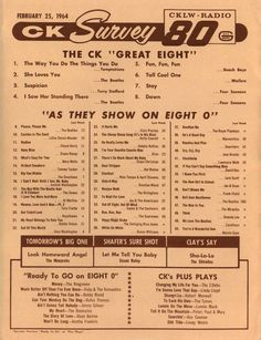 CKLW (Feb. 25, 1964) Music Hits, 70s Music, I Love Music, Love Songs, Radio 80, Old Time Radio, Playlists, Pop Music Playlist, Win For Life