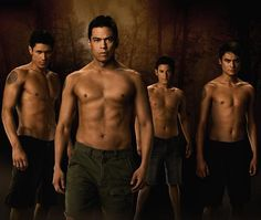 Chaske Spencer, Bronson Pelletier, Alex Meraz, and Kiowa Gordon in The Twilight Saga: New Moon Twilight Wolf Pack, Saga Twilight, Twilight New Moon, Twilight Movie, Twilight Images, Twilight Pictures, Breaking Dawn, New Moon Pictures, Bronson Pelletier