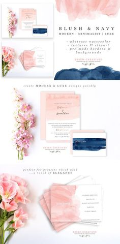 Blush & Navy is a set of hand-painted watercolor clipart, textures, background and borders. The watercolors have been painted using a loose hand, in a minimalist, dreamy, airy style. There are subtle ombres, rough textures (perfect for layering), and charming brush strokes, painted in a blush & navy color scheme. These are perfect for use in wedding invitations, other stationery, logos & branding, website banners & headers, business cards, packaging materials, art prints, coffee