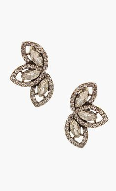 Olivia Welles Jewelry Crystal Leaf Trio Stud Earrings -- Jewels. All That Glitters. Pretty Things. Diamonds. Jewelry. Accessories. Bling. Crystals.  Rings. Crowns. Shine. Ice.