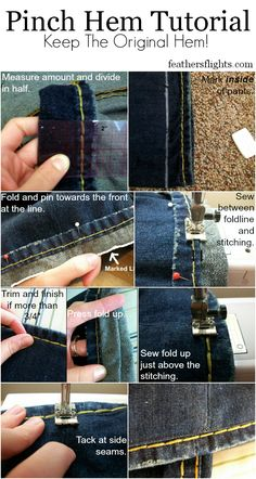 Sewing 101 - How To Sew a Pinch Hem from Feather's Flights - perfect for hemming pants that are too long while keeping the original hem.Pinch Hem Tutorial (For when you want to keep the original hem of something, like jeans, but also want it shorter! Sewing Blogs, Sewing Basics, Sewing Tutorials, Sewing Crafts, Sewing Projects, Sewing Patterns, Clothes Patterns, Dress Patterns, Diy Crafts