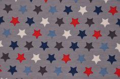 grauer Jersey mit bunten Sternen 50 x 145 cm Nähen Stoff Stars Sternchen - Stofferia