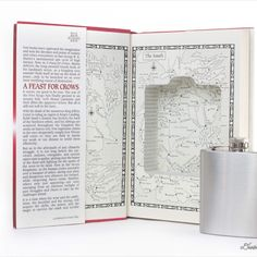 Hollow Book Safe and Whiskey Hip Flask- A Feast For Crows by George R. A Feast For Crows, Book Safe, Accessories Display, Flask, Whiskey, Smooth, Museum, Stainless Steel, Closure