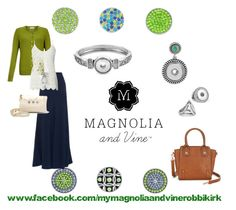 Contact Roberta Kirk at www.facebook.com/mymagnoliaandvinerobbikirk check out the entire Magnolia and Vine snap jewellery and accessories collection on www.mymagnoliaandvine.ca/ROBBIKIRK/ Magnolia and Vine Lime and Navy by magnoliaandvine on Polyvore