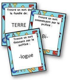 Prefix, suffix, and word family game in French. French Teacher, Teaching French, High School French, Cycle 3, French For Beginners, Prefixes And Suffixes, Core French, Teachers Corner, Future Jobs