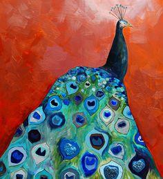 Eli Halpin Oil Paintings - Peacock in Orange Copper