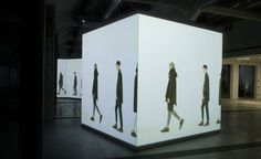 Marni's A/W 2014 menswear collection was projected onto white structures scattered throughout the house's Milan showroom