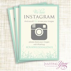 Wedding Instagram Sign, Wildflower, Digital File or Printed Signs by InvitingYou on Etsy
