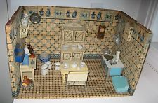 Antique German Delft kitchen miniature doll house Room Box