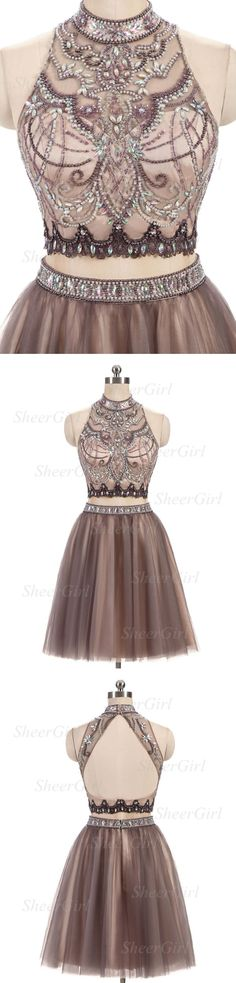 two piece homecoming dresses,beaded homecoming dress,halter homecoming dresses,short prom dress,shinny homecoming dresses,2017 homecoming dress #HomecomingDress