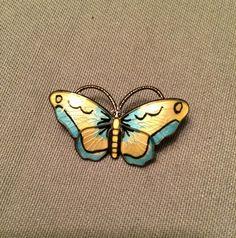 Sterling Silver Blue Yellow Enamel Butterfly Brooch, Opro, Norway