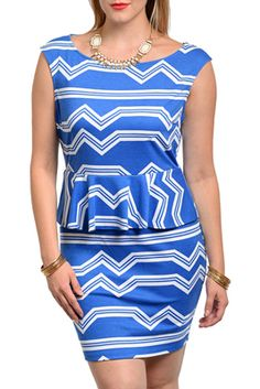 9b981a345fc Plus Size Trendy Abstract Zig Zag Fitted Peplum Dress Abstract Lines
