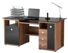 Alphason Aw14004 W Saratoga Walnut Effect Executive Computer Desk Click To Large