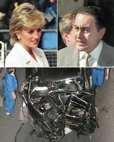 *PRINCESS DIANA & DODI FAYED ~This combo image shows Princess Diana, Dodi al-Fayed and a photo of the wreckage of the car in which they died on Aug. in Alma tunnel in Paris. Princesa Diana Y Dodi, Princess Diana And Dodi, Diana Dodi, Princess Diana Funeral, Princess Diana Photos, Princess Of Wales, Princess Diana Autopsy, Lady Diana Spencer, Prince William And Harry