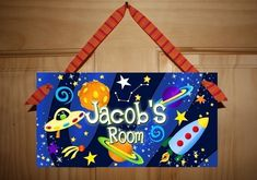 DOOR SIGN Blast Off Boys Bedroom Outerspace Rocket Ship Wall Art. $14.00, via Etsy.