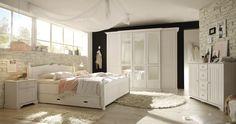 Schlafzimmer mit Bett 180 x 200 cm Kiefer teilmassiv weiss lackiert 19-00463