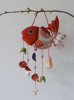 Kawaii fabric handmade fish mobile with lucky charms by Otomodachi, via Flickr