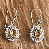 Citrine flower earrings, 'Balinese Sunflower' - Floral Sterling Silver and Citrine Dangle Earrings Ear Jewelry, Bridal Jewelry, Gemstone Jewelry, Jewelery, Girls Earrings, Flower Earrings, Dangle Earrings, Silver Earrings, Golden Jewelry