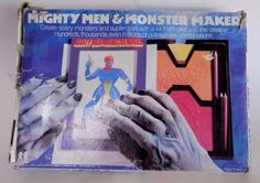 Vintage Mighty Men And Monster Maker 1978 Tomy Art Drawing Plates Retro #TOMY