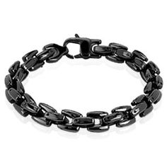 Hypnotic Black - Dashing Black IP Scale Linked Stainless Steel Bracelet