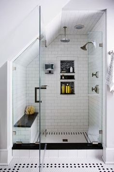 6 Superb Tips: Bathroom Remodel Wainscotting Doors bathroom remodel stone sinks.Bathroom Remodel Bathtub House complete bathroom remodel on a budget.Bathroom Remodel On A Budget Toilets. Loft Bathroom, Upstairs Bathrooms, Bathroom Renos, Bathroom Remodeling, Budget Bathroom, Remodel Bathroom, Remodeling Ideas, Small Attic Bathroom, Sloped Ceiling Bathroom