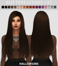 Hallow Sims: Butterflysims 145 hair retextured - Sims 4 Hairs - http://sims4hairs.com/hallow-sims-butterflysims-145-hair-retextured/
