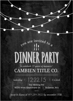 Modern Chalkboard Lights Business Party Invitation