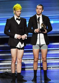 LOS ANGELES, CA - FEBRUARY 12: Recording artists Josh Dun (L) and Tyler Joseph of music group Twenty One Pilots accept the Best Pop Duo/Group Performance award for 'Stressed Out' onstage during The 59th GRAMMY Awards at STAPLES Center on February 12, 2017 in Los Angeles, California. (Photo by Kevin Winter/Getty Images for NARAS) Photo: Kevin Winter, Getty Images For NARAS