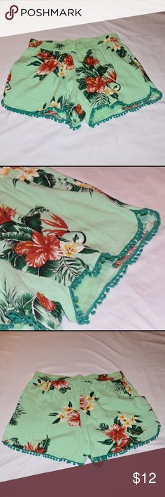 Vila Clothes Tropical Print Pom Pom Hem Shorts 🎉EVERYTHING MUST GO! Make me an offer and help me clear out this closet to make room for new arrivals🎉 Vila Clothes brand lime green shorts with tropical flower print and pom pom hem detailing. Worn once, in excellent condition. Vila Clothes Shorts