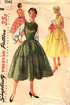 Simplicity 1046 Mother & Daughter Fashion Bust 36 Dress Jumper Blouse VINTAGE 1950s ©1955