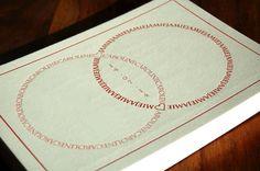Letterpress Wedding Invitation - Combined Rings