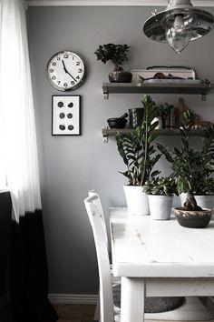 = soft grey walls and shelving = SMÄM green plants