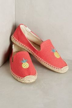 Soludos Watermelon Espadrilles Coral Linen 10 Flats #AnthroFave