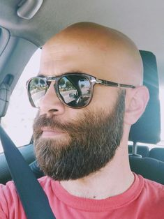 fresh trim and new sunglasses. Bald Men With Beards, Bald With Beard, Bald Man, Great Beards, Hairy Men, Bearded Men, Shaved Head With Beard, Shaved Heads, African American Haircuts