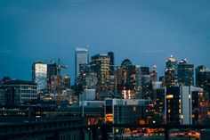 Check out Seattle skyline at sunset by Hello Goodbye studio on Creative Market