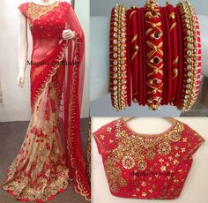 Colourful Bangles For Your Colourful Sarees! Saree Blouse Patterns, Saree Blouse Designs, Dress Patterns, Indian Dresses, Indian Outfits, Traditional Silk Saree, Traditional Outfits, Silk Thread Bangles, Bollywood