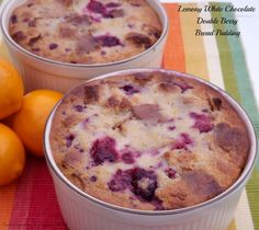 Lemony White Chocolate Double Berry Bread Pudding- this is a tangy, sweet & creamy bread pudding that is great when you're craving fresh berries but they aren't in season yet. http://www.fromcupcakestocaviar.com/2014/03/15/lemony-white-chocolate-double-berry-bread-pudding/