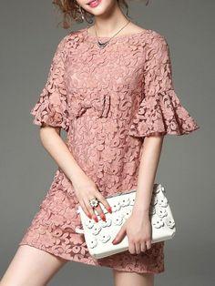 [USD $78.00] Embroidery Mesh Bow Mini Dress