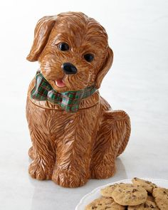 NMF15_H7AUK  Neiman Marcus Labradoodle cookie jar; hand painted, hand washed, handcrafted of dolomite. 50.00