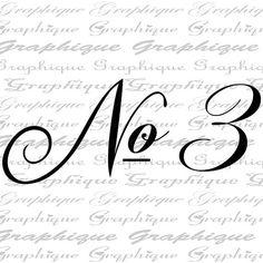 NUMBER 3 One Fancy SCRIPT Digital Image Download by Graphique