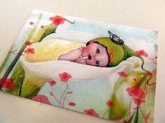 "ACEO ATC Artists Trading Card Fairy Art ""Baby Calla Lily"" Tiny Newborn Blossom Infant - Nursery Art- Premium Fine Ar"